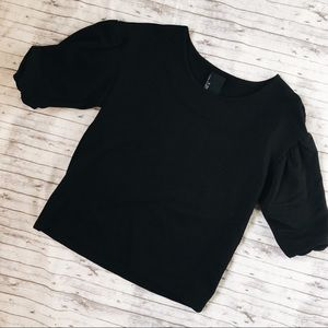 Anthropologie | Dolan Puff Sleeve Black Ribbed Top